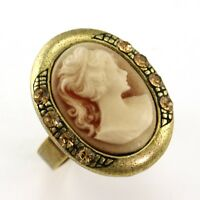 Antique Gold Vintage Style Cameo Ring Oval Brown Stone Crystal Stone Adjustables