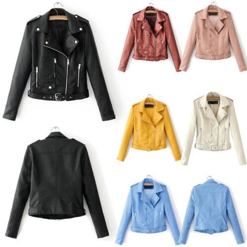 Womens Punk Jacket Coats Faux Leather Zip Up Biker Short Tops Outerwear Top