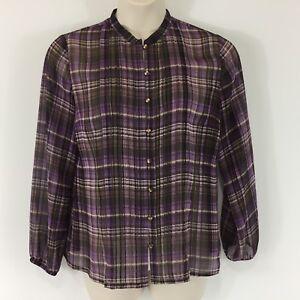 e2bb74d04 Liz & Co Women's Blouse Shirt Purple Large Sheer Plaid Button Down ...