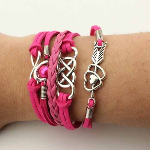 NEW Jewelry Fashion Leather Cute Lnfinity Charm Bracelet Lots Style Pink