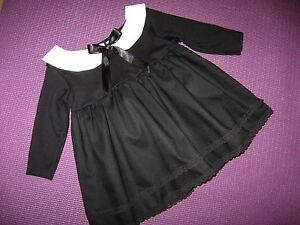 Vestido de Encaje nuevo Gotico Bebé Niñas Negro Cuello Blanco Fiesta Diadema Conjunto de Regalo  </span>