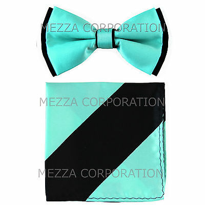 New Men/'s Pre-tied Bowtie And Hankie Set Two Tone Formal Party Red Black Stripes