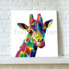 a13ff19ff364 Colors Giraffe Art Canvas Painting Animal Print Picture Wall Unframed Decor
