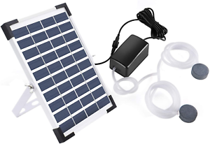 Lewisia 5W Solar Air Pump Kit Battery With Air Hoses And Bubble Stones 3 Modes