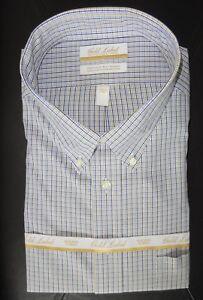 Roundtree-Yorke-Gold-Label-Dress-Shirt-Blue-Tan-Check-20-34-35-BIG-NWT
