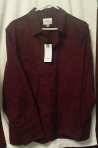 Godfellow-Men-039-s-Big-and-Tall-Standard-Fit-Military-Shirt-Burgundy-2XB-NWT