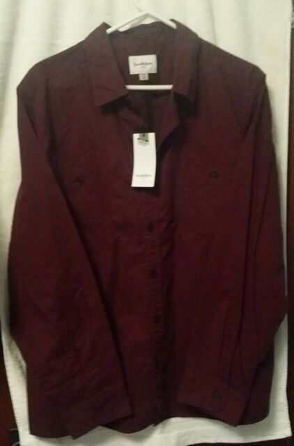 Godfellow Men's Big and Tall Standard Fit Military Shirt Burgundy 2XB, NWT