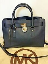 7c53b4ebd5b6 item 7 MICHAEL KORS HAMILTON DARK BLUE LEATHER WITH CHAIN TRIM SHOULDER  STRAP TOTE BAG -MICHAEL KORS HAMILTON DARK BLUE LEATHER WITH CHAIN TRIM  SHOULDER ...