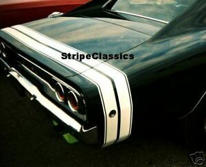 1968 Dodge Charger Bumble Bee Rear Tail Stripes Kit Mopar Quot White Quot Ebay