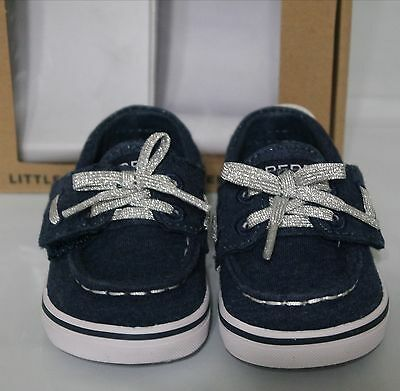 SPERRY Bahama Crib Jr Toddler Girls Size 3 or 4 Navy Blue Shoes NEW
