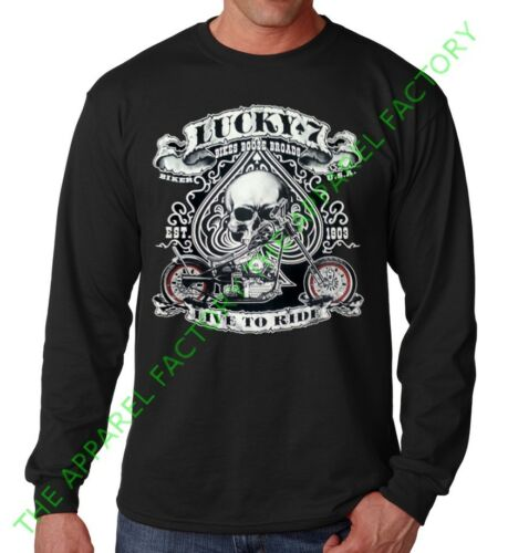 Men/'s Biker Lucky 7 Skull Long Sleeve Black T Shirt chopper bike gang tee