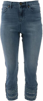 DG2 Diane Gilman Stretch Printed Flare Jean CHAMBRAY 18WP NEW 696-886