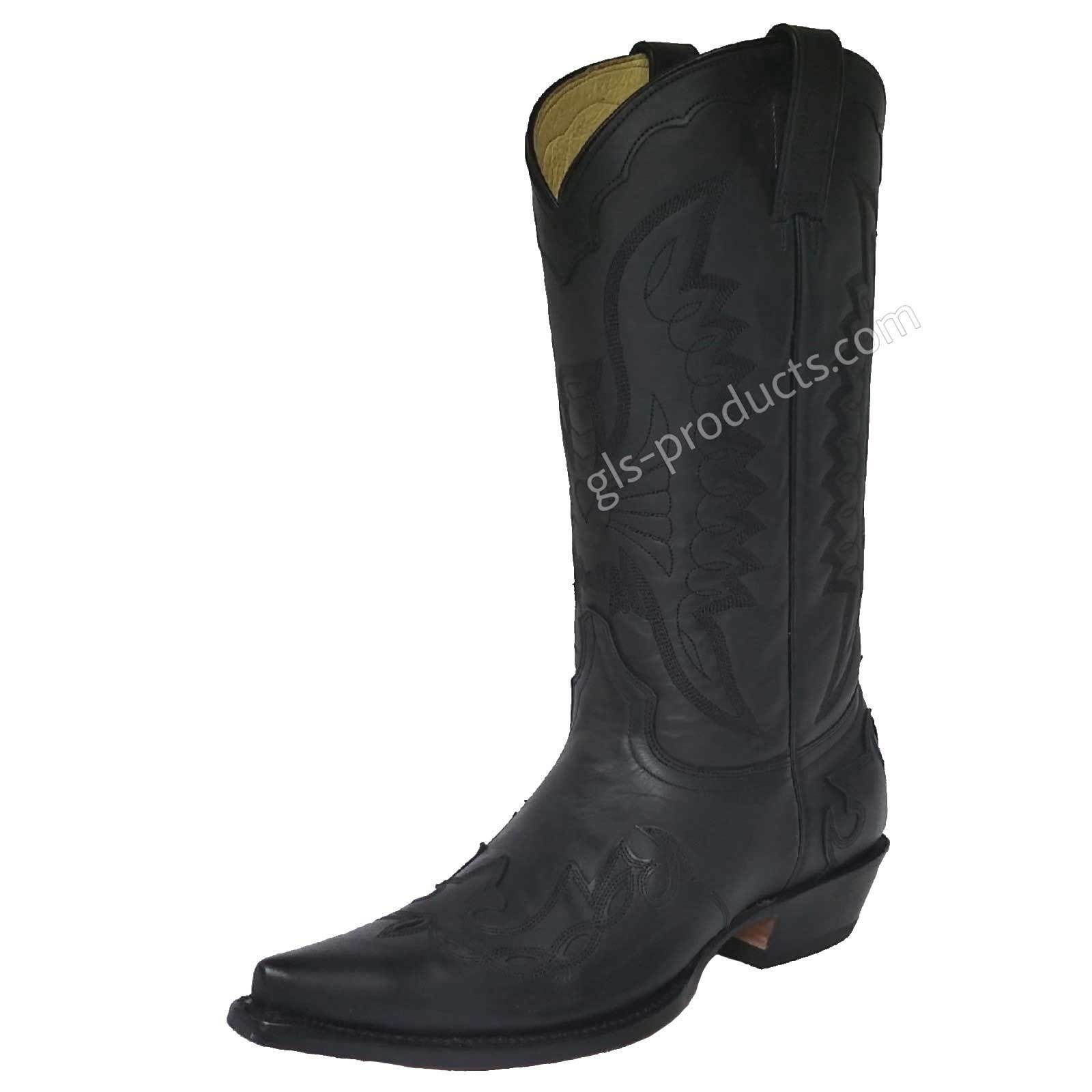 Rancho 5024 Cowboy Western Boot Flames Black handmade genuine leather lining new