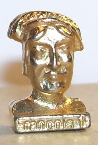 Rare charm bust Francois king of France 1er 1494-1547 3d metal dore feve