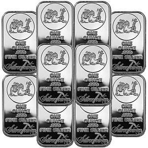 Silvertowne Logo 1oz 999 Fine Silver Bar Lot Of 10 Ebay