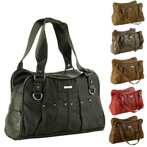 Womens-Ladies-Studded-Lorenz-Real-Cowhide-Leather-Handbag-Organiser-Shoulder-Bag