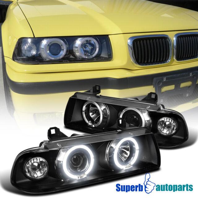 1992-1998 BMW E36 3-Series 2//4Dr Black Smoke Dual Halo Projector Headlights