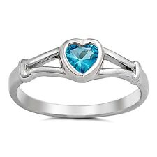 .925 Sterling Silver Ring size 5 Heart Midi Aquamarine Ladies Knuckle New j07
