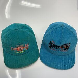 LOT-OF-2-Vintage-90s-Racing-Green-amp-Blue-Corduroy-Snapback-Hats-034-Copper-World-034