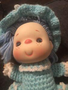 Strawberry-Shortcake-amp-Friends-Doll-Vintage-Crochet-Handmade-Dolls-Blue-Hat-Yar