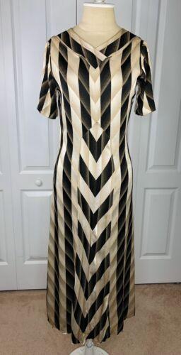 Striking Bias Cut 1930s Art Deco Satin Dress