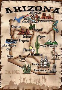 Map Of Arizona Including Sedona.Arizona Phoenix Tucson Flagstaff Sedona Grand Canyon Etc State