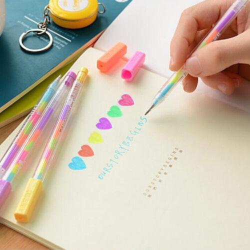 10stk 6 in1 Regenbogen Bunt Gelstifte Gelschreiber Gelmalstifte Gemischte Farbe.