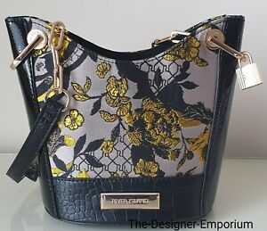 Details about River Island Designer Grey Floral Jacquard Cross Body Small Bucket Bag Gift