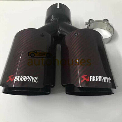 FLYPIG 1Pcs ID:2.563mm OD:4101mm For Akrapovic Glossy Carbon Fiber Exhaust Pipe tip Blue