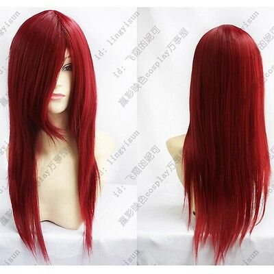 Long Dark RED New Cosplay Party Straight Wig Beautiful Wig Hair 60cm