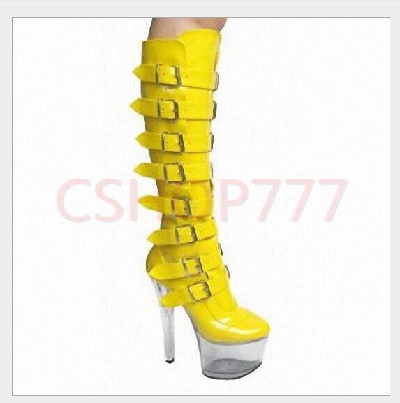 Damen Schnalle Plattform dünne High Heels kniehohe Stiefel aus Lackleder Gr.46