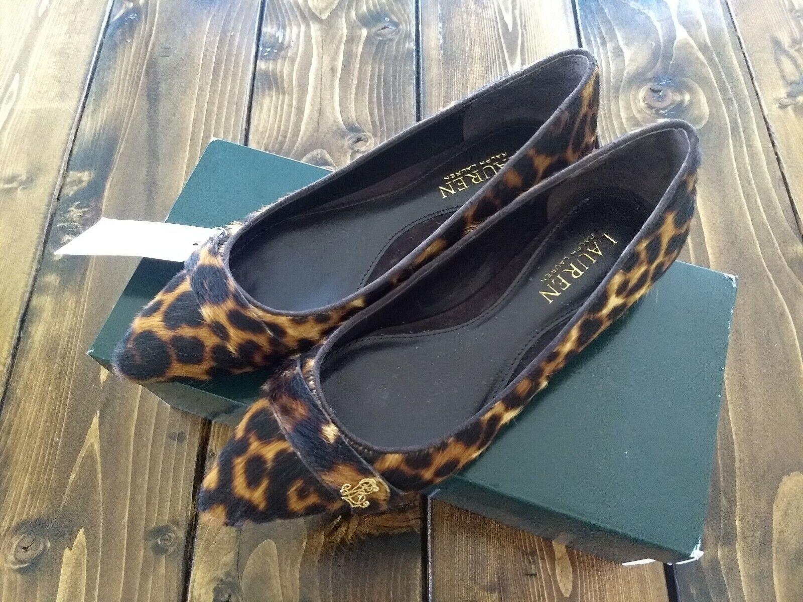 Lauren Ralph Lauren Aminah III Brown Mu Leopard Hair Calf Flats Sz 6B New