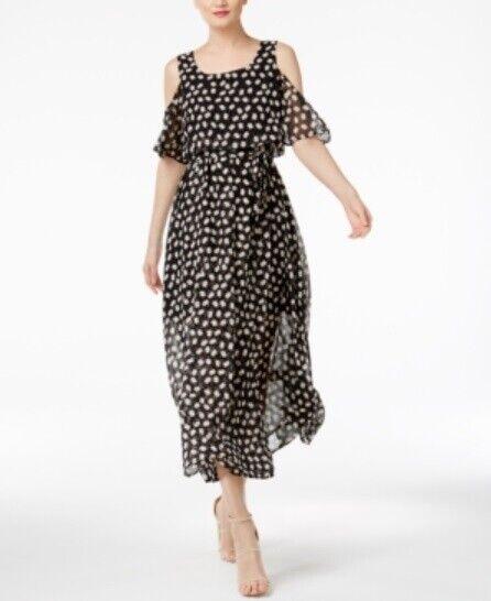CR Cynthia Rowley Cold-Shoulder Midi Dress Größe Medium, schwarz Multi