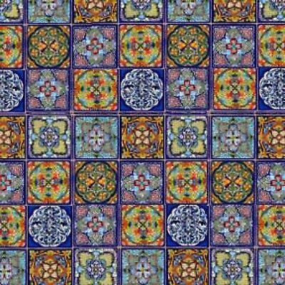 "23"" x 42"" Fiesta Panel from Elizabeth Studios Talavera Tiles Fabric 264 Royal"