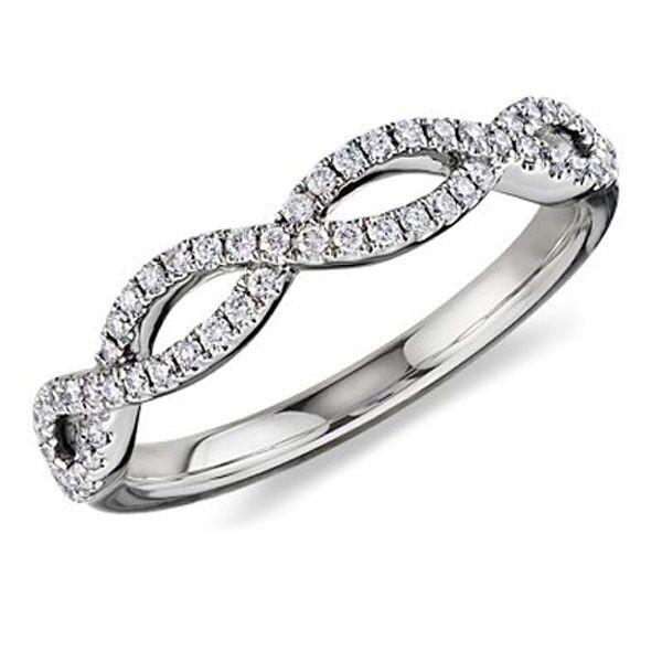 White gold 1 2ct Infinity Pave Diamond Anniversary Ring (G-H, I1-I2)