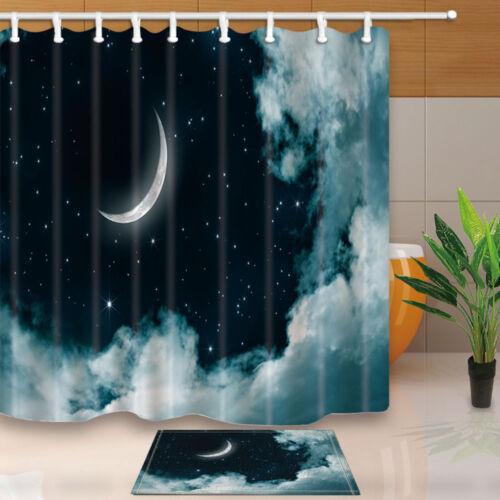 """Nuit Lune et étoiles Salle de bains Tissu imperméable rideau de douche /& 12 crochets 71*71/"""""""