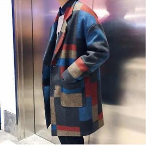 Men-039-s-Retro-Grid-Lapel-Jacket-Loose-Fit-Wool-Trench-Coat-Outwear-Casual-2019