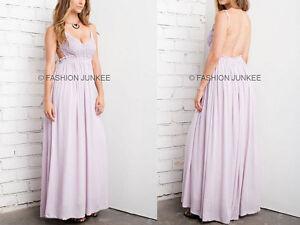 LAVENDER-PURPLE-CROCHET-MAXI-Dress-Backless-Long-Full-Length-Bridesmaid-S-M-L