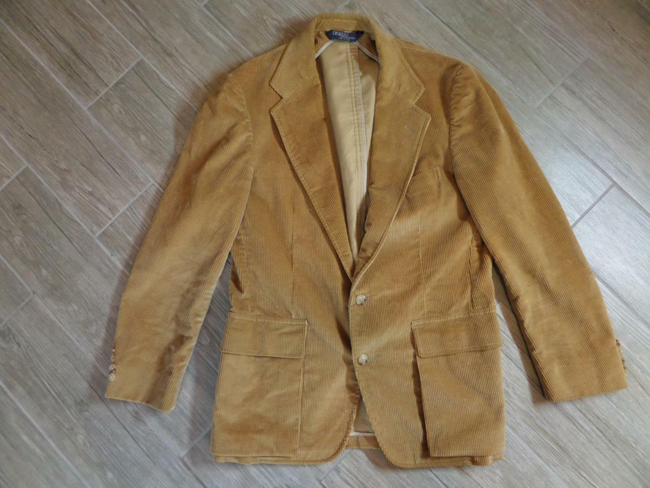 Vintage POLO Ralph Lauren CORDUROY Blazer 42R Light Brown SPORTSCOAT