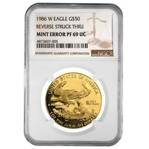 1986-W-1-oz-50-Proof-Gold-American-Eagle-NGC-PF-69-Mint-Error-Rev-Struck-Thru