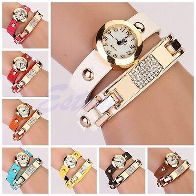 Fashion Women's Faux Leather Rhinestone Wrap Bracelet Analog Quartz Wrist Watch