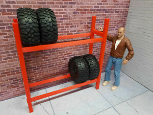 Tire-Rack-1-10-Scale-Shop-Garage-Rock-Crawler-Doll-House-Accessories-USA