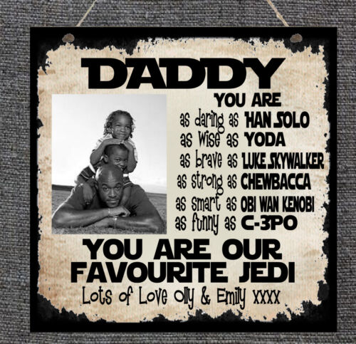 Personalised Star Wars PHOTO Plaque Daddy Dad Stepdad Grandad Father/'s Day Gift