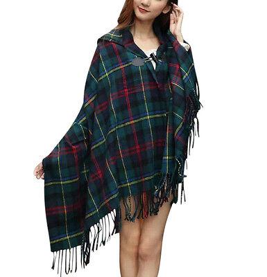 Hooded Tartan Check Blanket Wrap Cape - Various Colours (UK supplier)