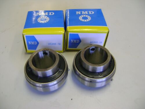 """2 Excellent Quality NMD Brand UC205-16 1/"""" Bore Axle Insert Mounted Bearings"""