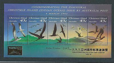 Australien 1993 Weihnachten Island Vögel Sonderblock Überdruckt Taipei '93 Um Australien