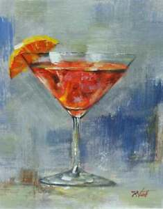 8x10-Martini-Red-Orange-Cocktail-Original-Canvas-Oil-Painting-New-Wall-Art-Work