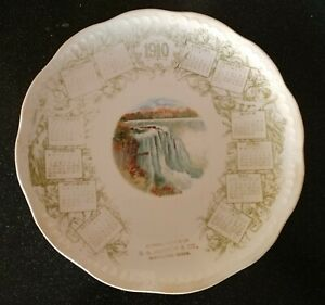 Antique-1910-CALENDAR-PLATE-NIAGARA-FALLS-MAYNARD-MINNESOTA-NATIONAL-CHINA-CO