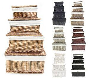 schwarz wei grau mit deckel korbweide aufbewahrung spielzeugkiste leere. Black Bedroom Furniture Sets. Home Design Ideas