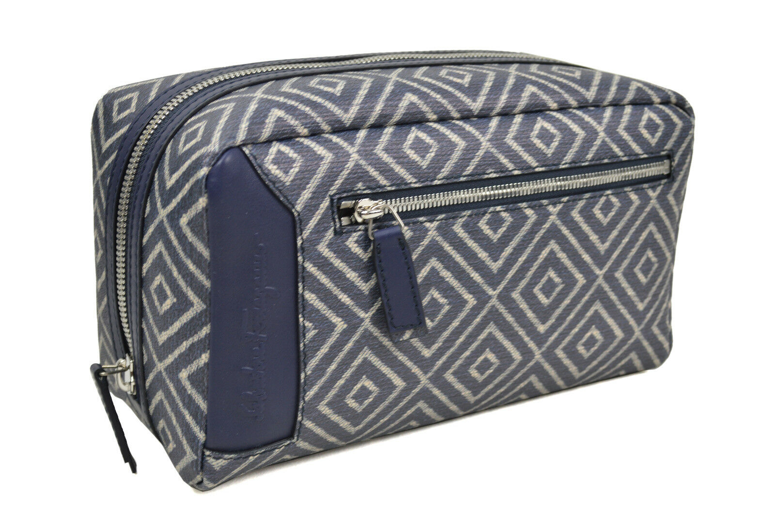 f6318839ea Salvatore Ferragamo Blue Geometric Print Canvas Rectangle Kit Zip ...